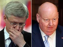 Mike Duffy (r) is increasingly becoming a thorn in Stephen Harper's side.